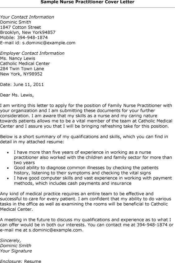Family Nurse Practitioner Cover Letter