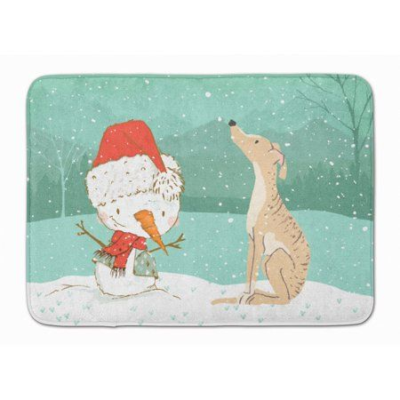 Brindle Greyhound Snowman Christmas Machine Washable Memory Foam