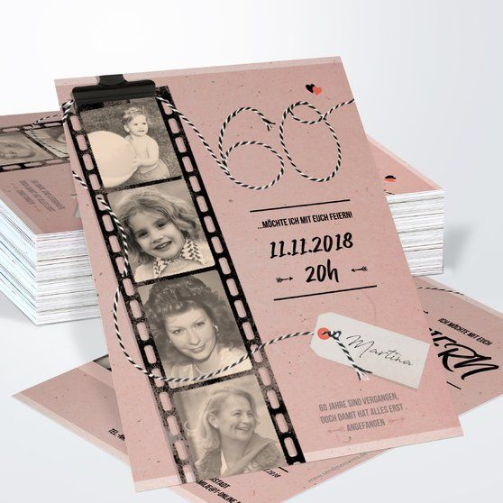 Filmstreifen 60 Vertikale Klappkarte 105x148 Helles Grüngrau #moms50thbirthday