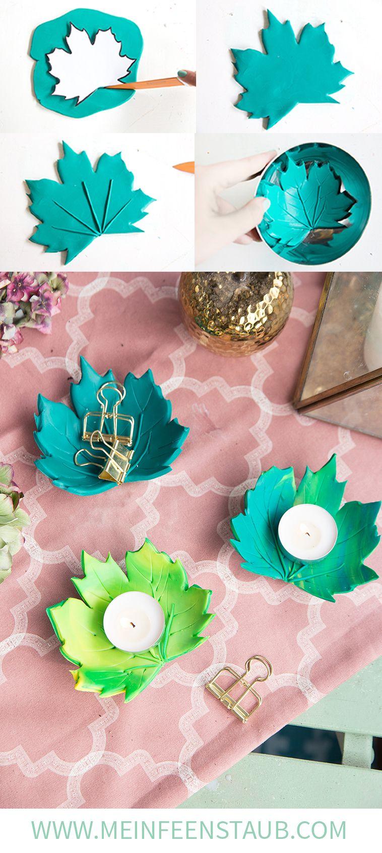 DIY: Herbstliche Blätter-Teelichthalter aus FIMO | mein feenstaub