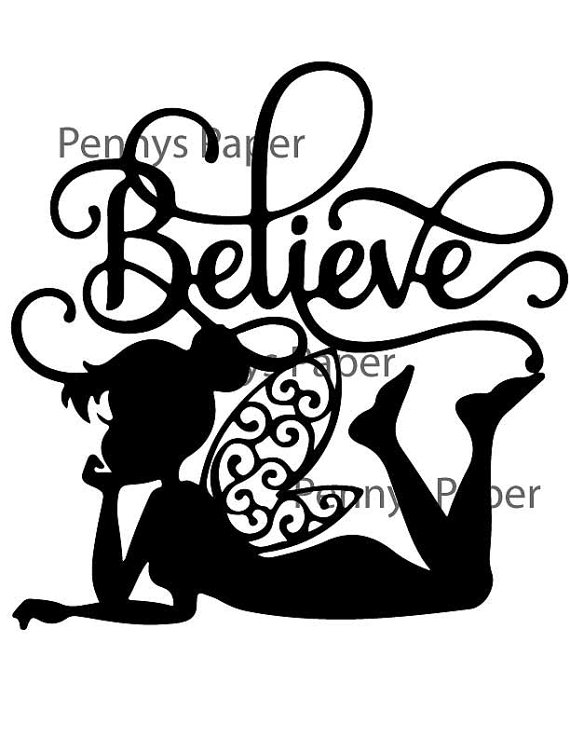 Tinkerbell Believe Fairy Inspired Paper Cut File For Silhouette Or