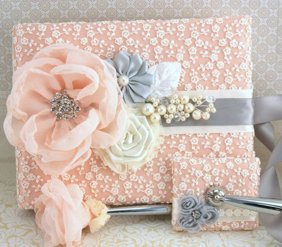Guest Book Ivory Peach Silver Grey Wedding Bridal Signature Signing Pen Pearls Lace Crystals Vintage Elegant