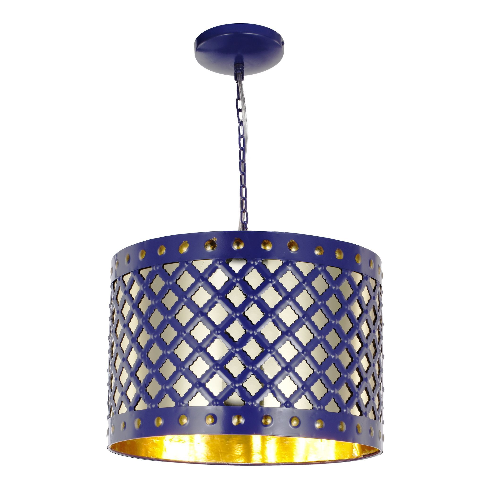 Audriana Metal Grey Ceiling Lamp Blue 16x11 Chandelier