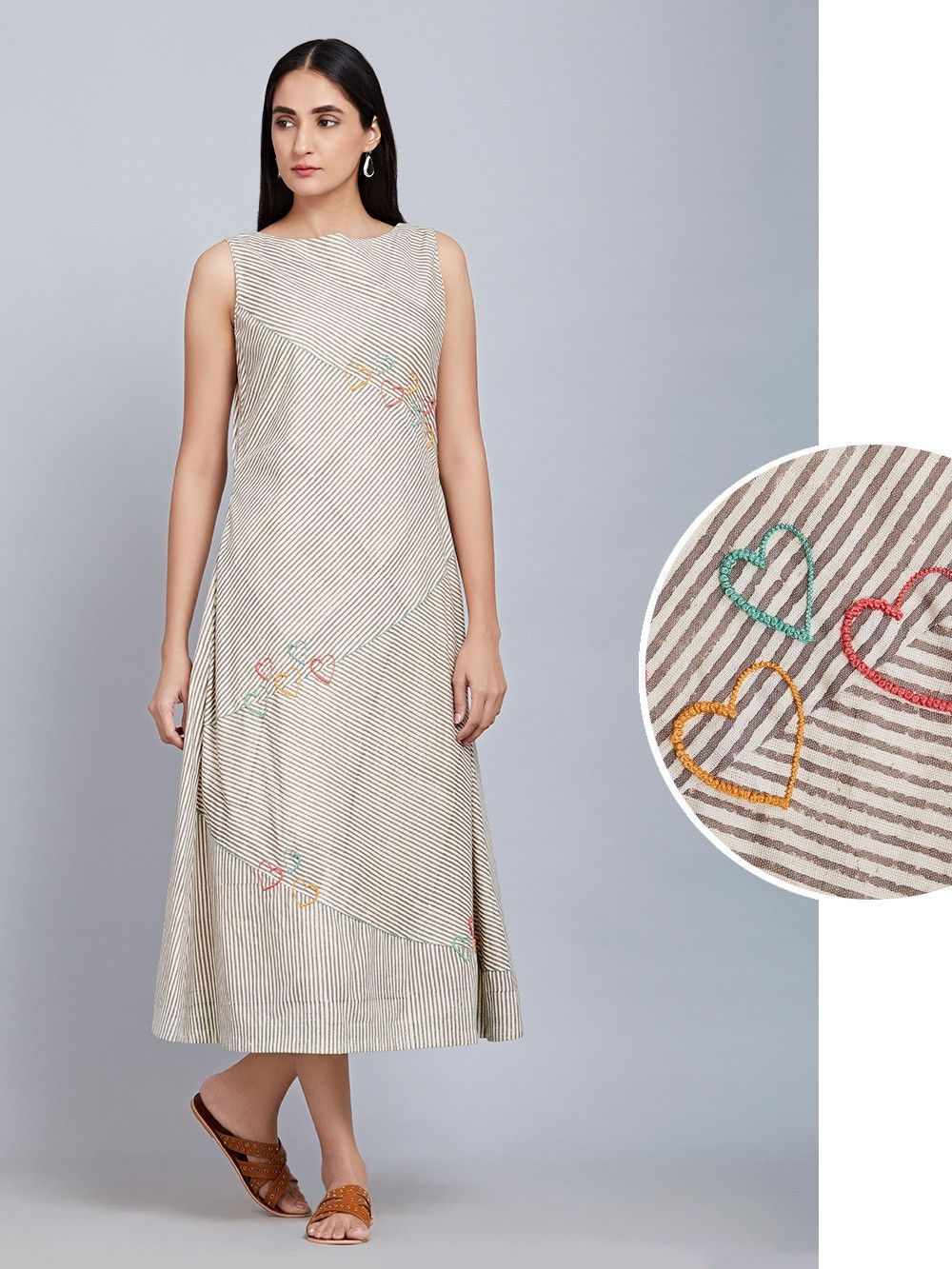 Buy Off White Striped Cotton Sleeveless Dress online at Theloom ... e57aeefd51