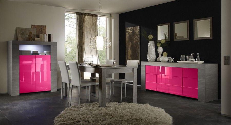Salle à manger complète moderne laquée rose et bois gris ELIOS 3 ...