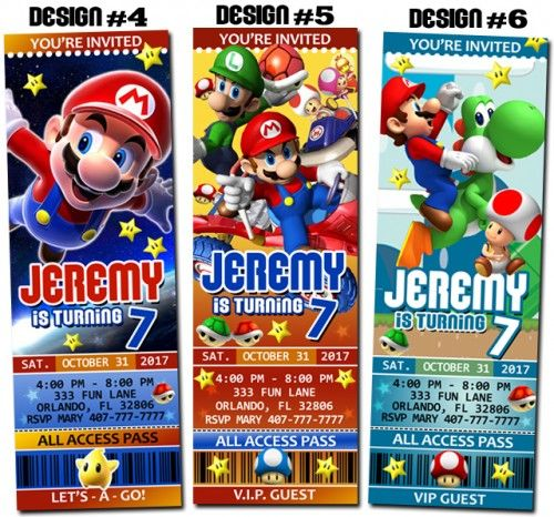 Super Mario Bros Birthday Party Ticket Invitations Printable – Super Mario Bros Party Invitations