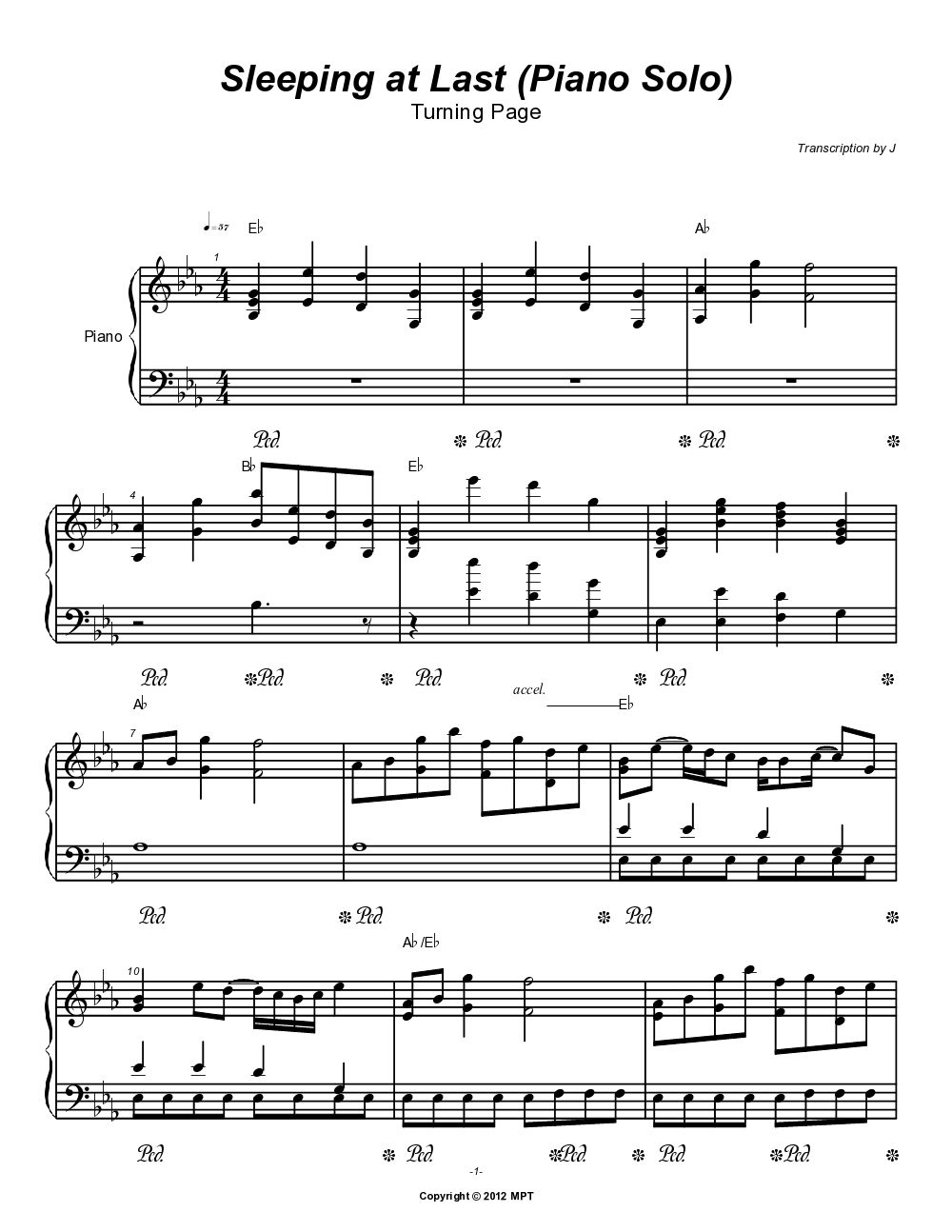 Sleeping At Last Piano Solo Turning Page