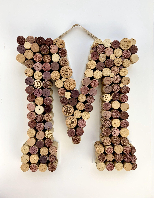 Hanging Wine Cork Letter M Large Letter Corkboard A B C Etsy In 2020 Wine Cork Letters Cork Letters Wine Cork