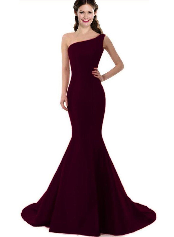 Elegant One Shoulder Prom Dress Long prom dresses Prom and Yule ball