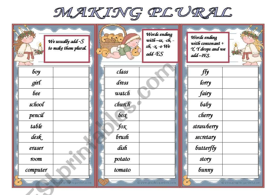 Rules Of Making Plural In The Grammar Boxex And Exercises
