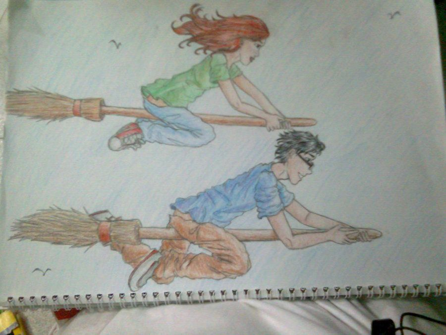 harry and ginny again having some sort of competition. obviously harry is winning. ;D