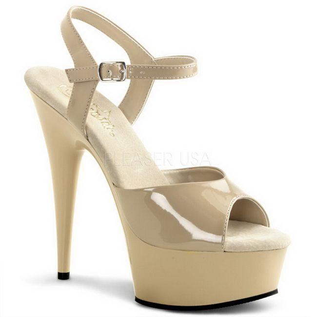 65d592c5777 Bege 15 cm Pleaser DELIGHT-609 Salto Alto Plataforma   Shoes/ Sapatos