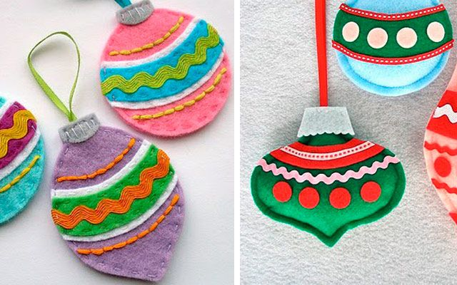Navidad DIY - Adornos para el árbol en fieltro y crochet