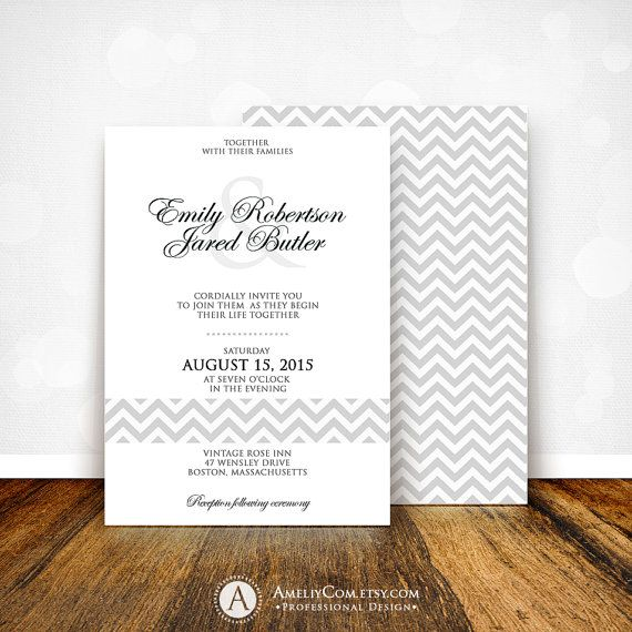 Places To Print Wedding Invitations: Printable Wedding Invitation Gray Chevron Weddings Invite