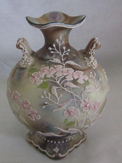 Nippon Moriage Vase Blue Mark 90 Royal Moriye Royals
