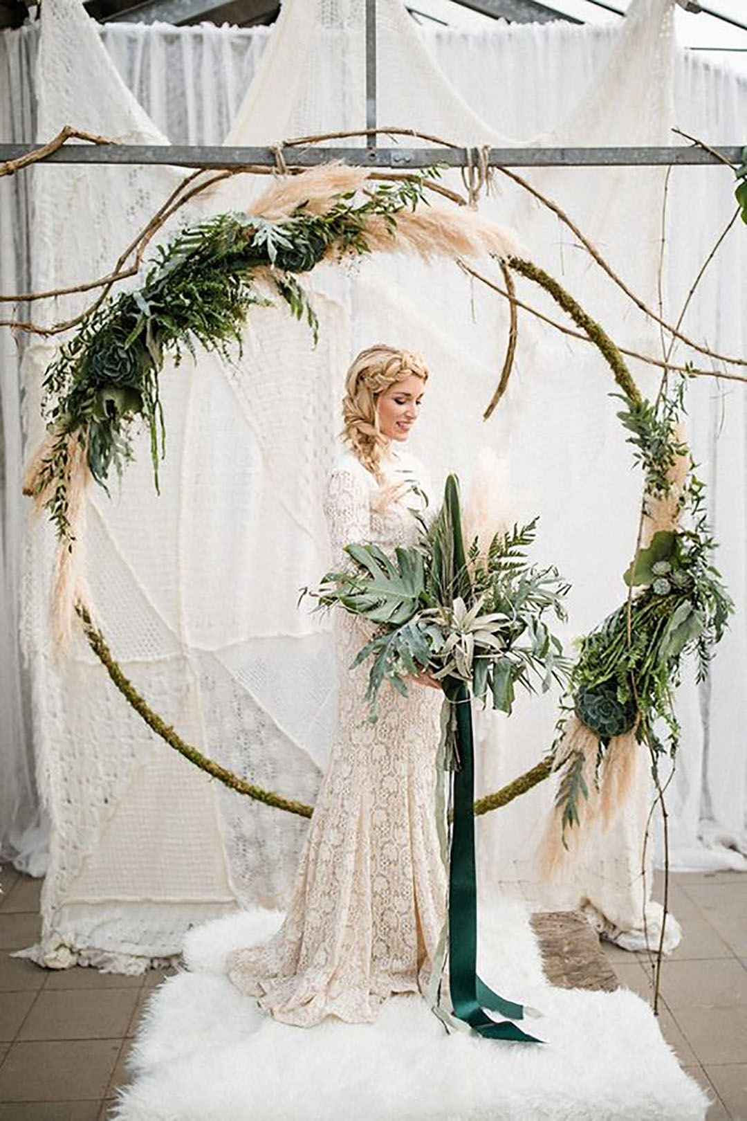 2018 decor trend pinterest ceremony arch arch and wreaths 2018 decor trend are wedding wreaths the new ceremony arch junglespirit Gallery