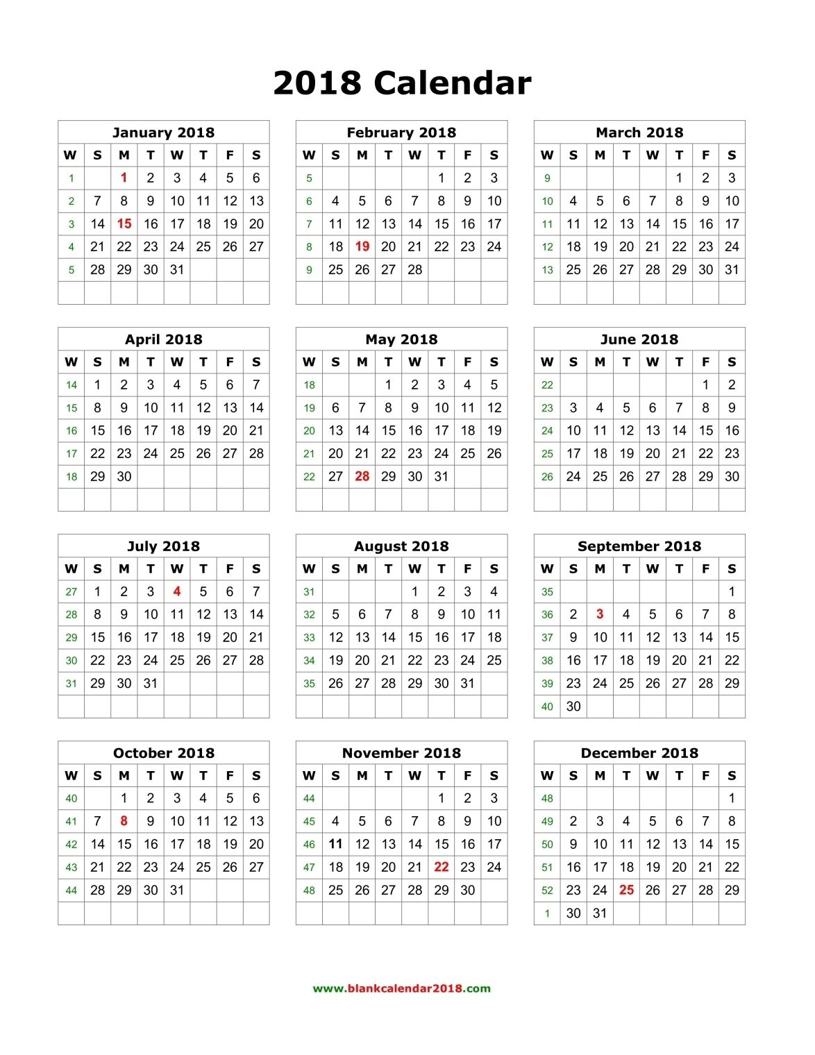 2018 calendar printable with holidays