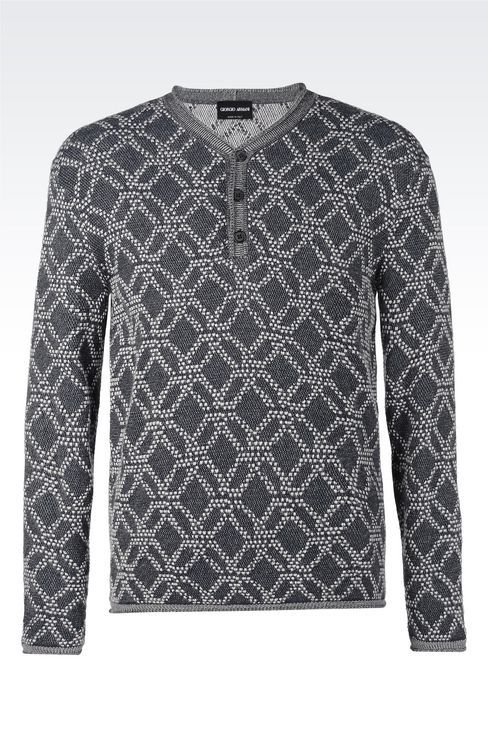 SILK AND WOOL JACQUARD SWEATER : Sweaters Men by Armani - 1
