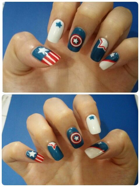 Captain America Nails Visit To Grab An Amazing Super Hero Shirt Now On