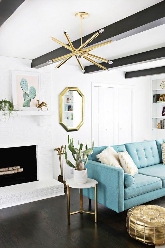 Living room: white, black, gold and blue