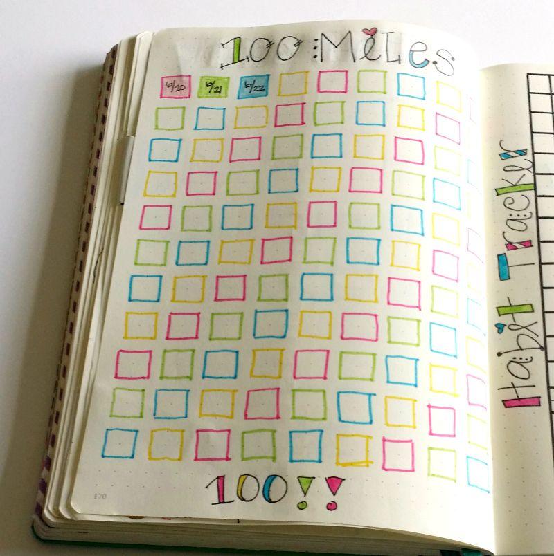 tracking 100 miles in my bullet journal bullet journal bullet