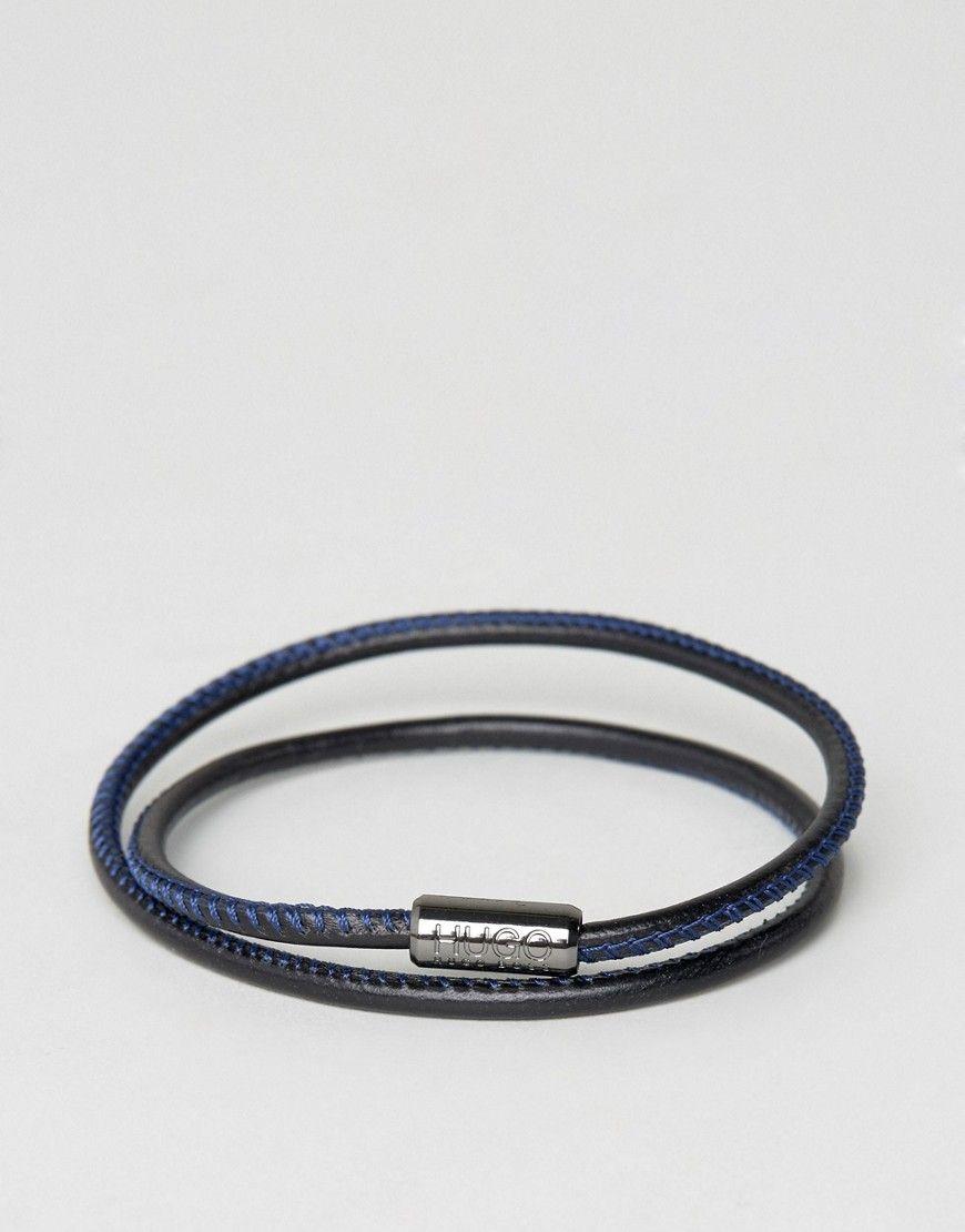 09b01e4d0079 BOSS by Hugo Boss Leather Wrap Bracelet In Black Blue - Black