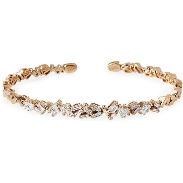Suzanne Kalan Tilted Baguette Diamond Bangle in 18K Rose Gold 11