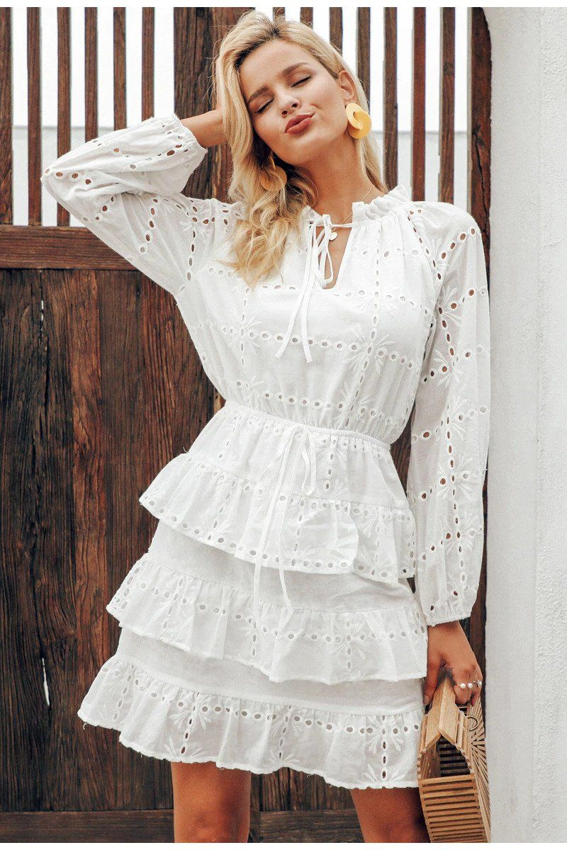White Layered Schiffli Short Dress In 2021 White Lace Long Sleeve Dress Lace Up Bodycon Dress Lace White Dress [ 1200 x 800 Pixel ]