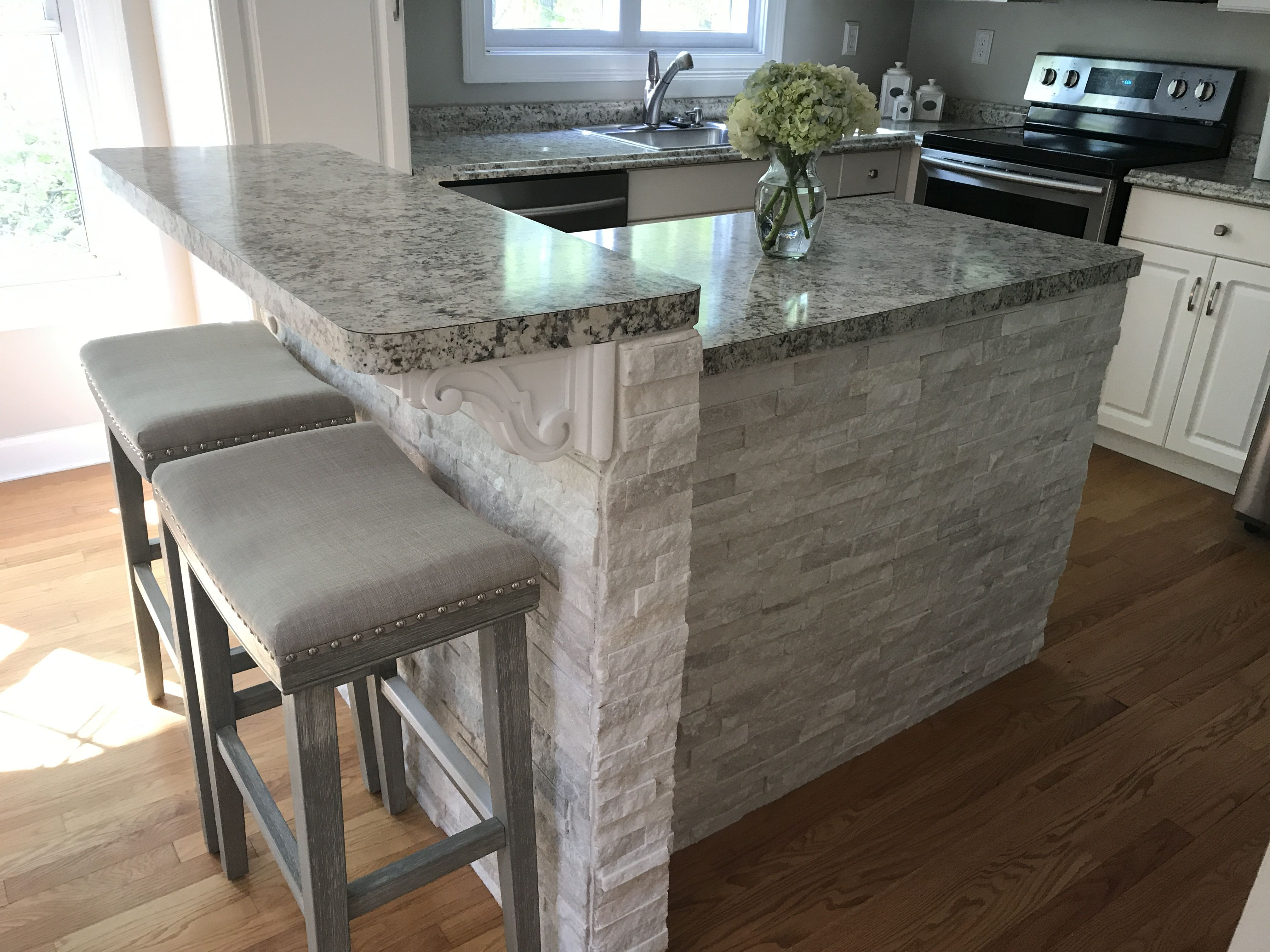 White Stone Kitchen Island Stone Kitchen Island Kitchen Island Makeover Black Kitchen Island
