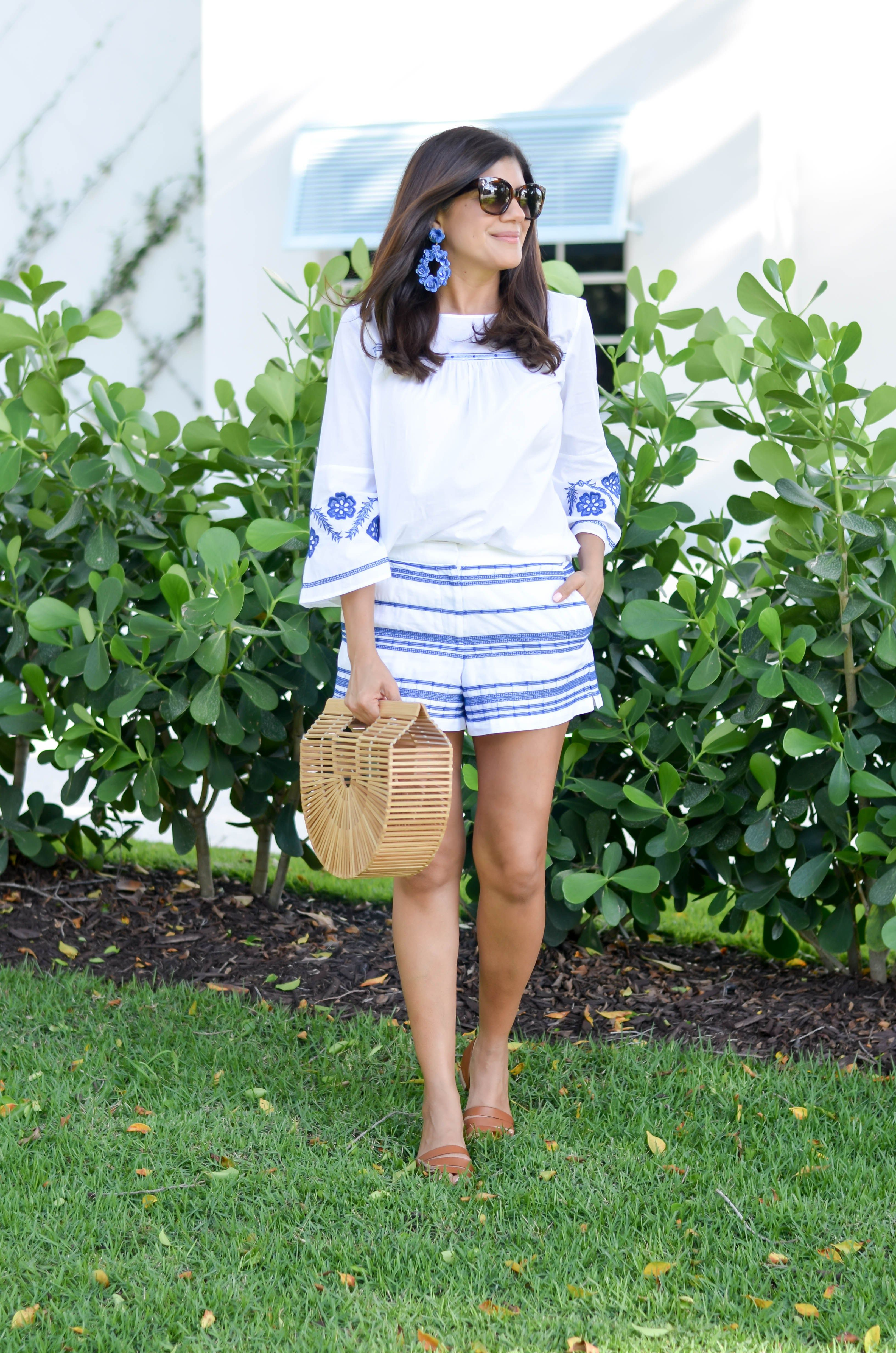 LOFT embroidered top and shorts