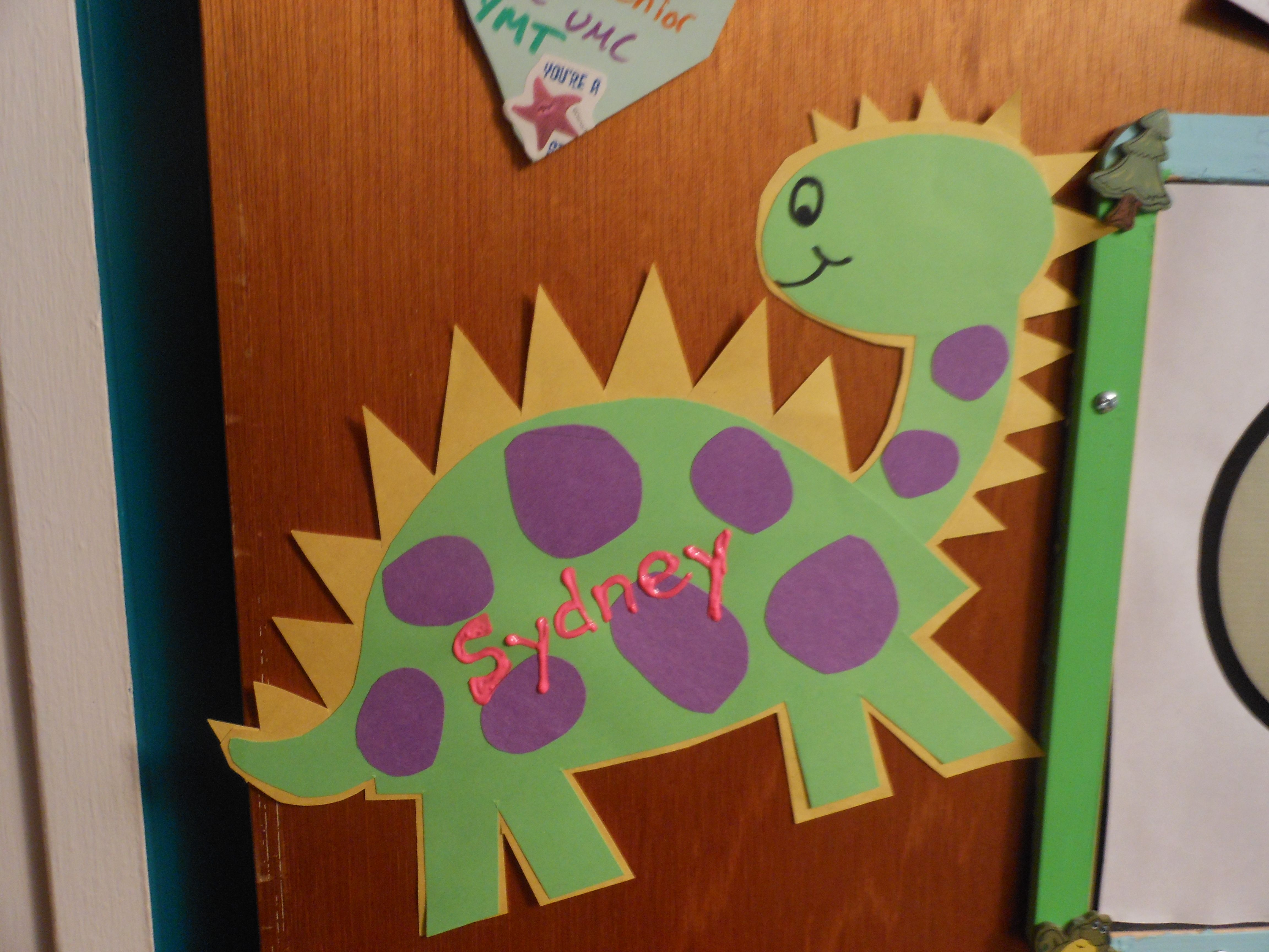 A dinosaur door dec I made based off something I found on Pinterest. Turned out well!