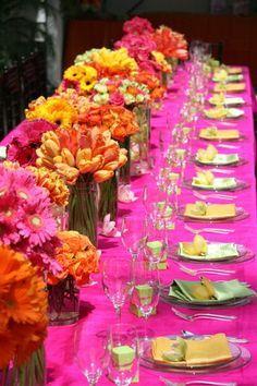 Pink Orange Wedding Centerpieces