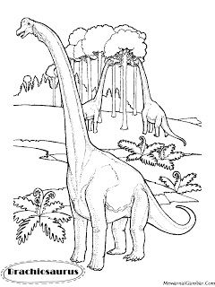 Download Gambar Mewarnai Dinosaurus Brachiosaurus Halaman