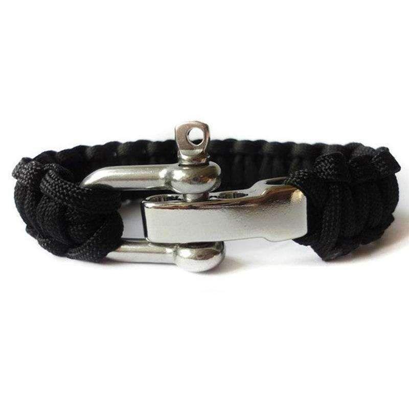 Paracord Parachute Cord Bracelet  Wristband Emergency Survival Camping Black
