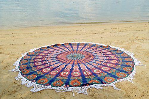 Round Mandala Throw Bohemian Hippie Beach Picnic Rugs