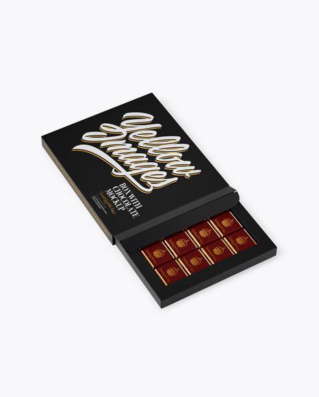 Download Free PSD Mockup Opened Matte Chocolate Box - Half Side ...