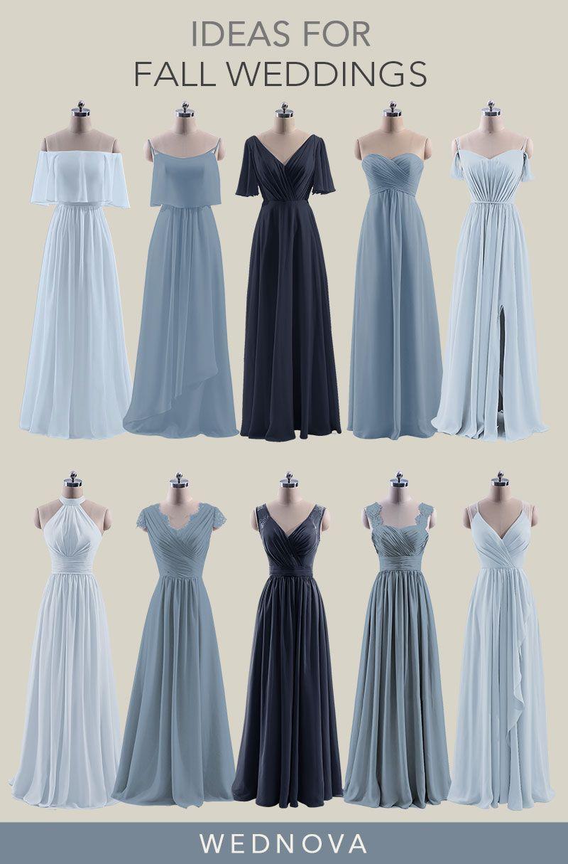 Beautiful chiffon bridesmaid dresses blue sweetheart dress boho