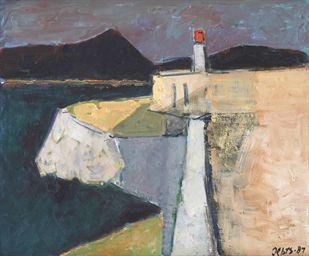 Willem Oepts (DUTCH, 1904-1988) Coastal scene with a lighthouse