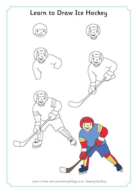 I Would Do Like To Learn How To Draw A Perfect Hockey Player Because I Like The Sport Art Drawings For Kids Learn To Draw Sports Drawings