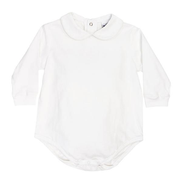 Boys Long Sleeve White Knit Piped Shirt with Snaps and
