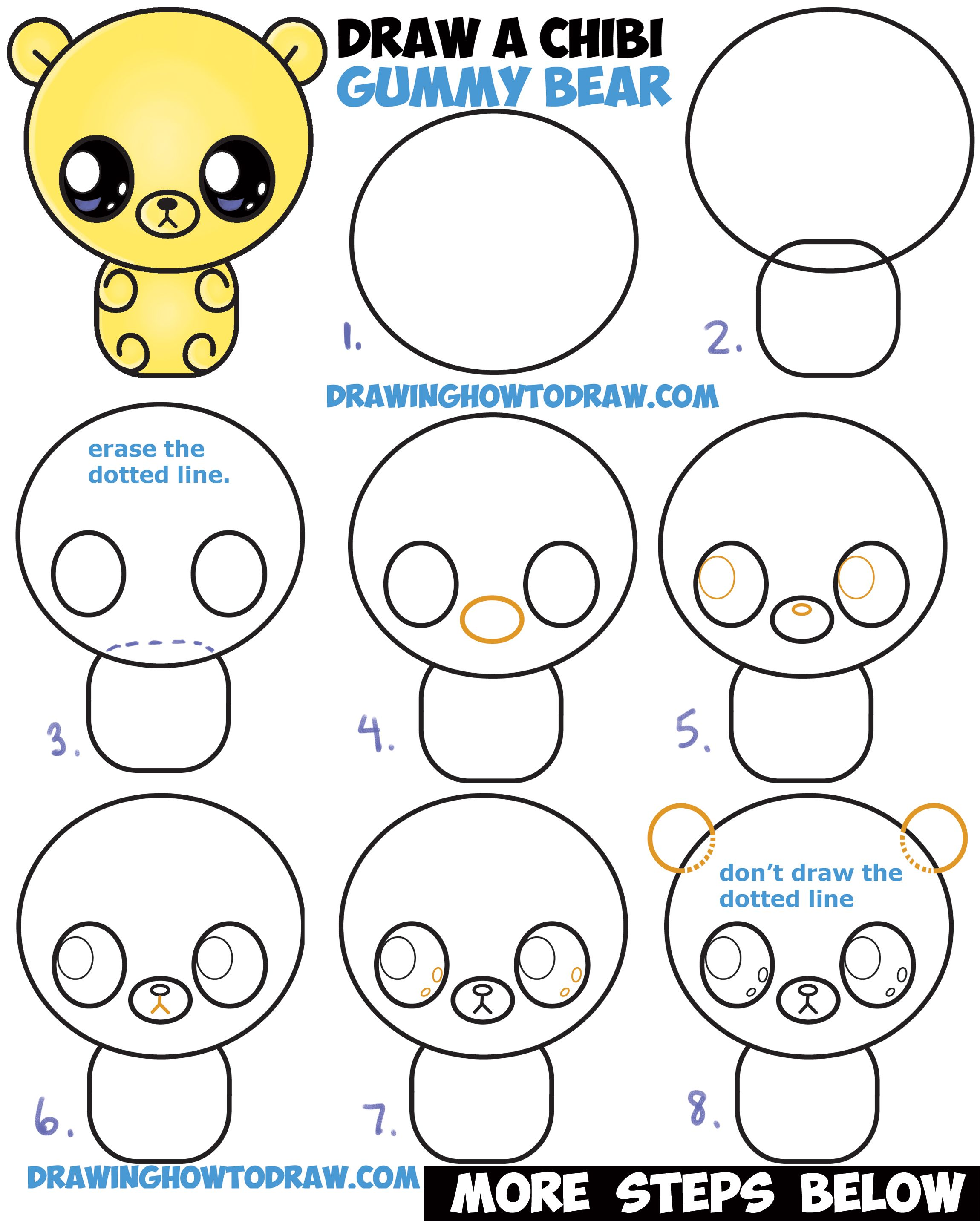 How to draw a cute chibi kawaii cartoon gummy bear for How to draw things step by step