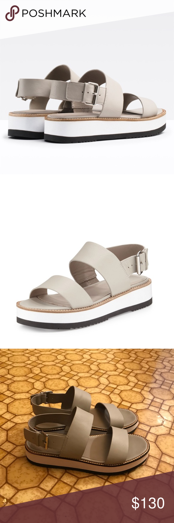 97a581ac9f3 Vince Mana Leather Slingback Platform Sandal Gorgeous shoes in fossil. Wish  these were my size