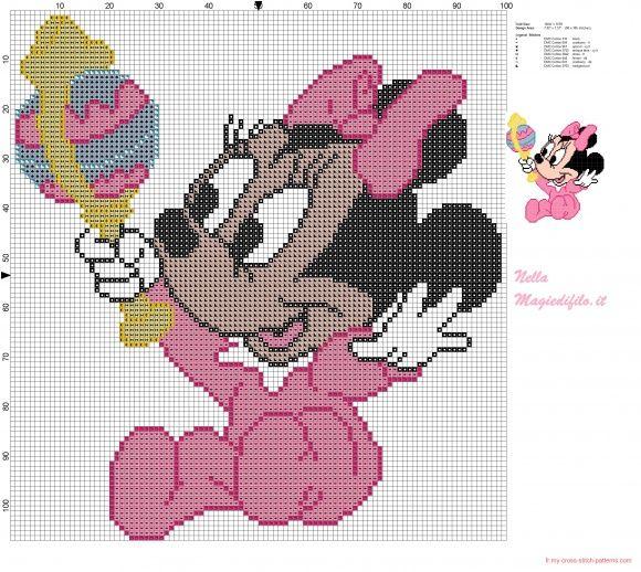Minnie mouse b b avec hochet broderie pinterest minnie mouse hochet et point de croix - Grilles gratuites point de croix pour bebe ...