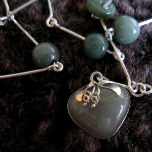 Jade heart-pendant with Sterling Silver handmade chain. Necklace