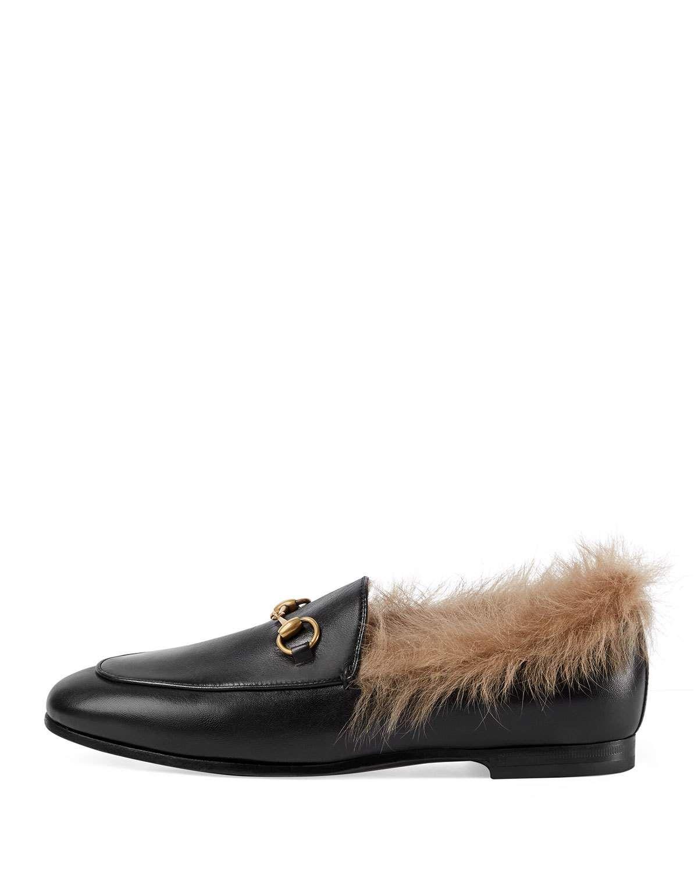 f3779ffe34b Gucci Jordaan Fur-Lined Leather Loafer Flat