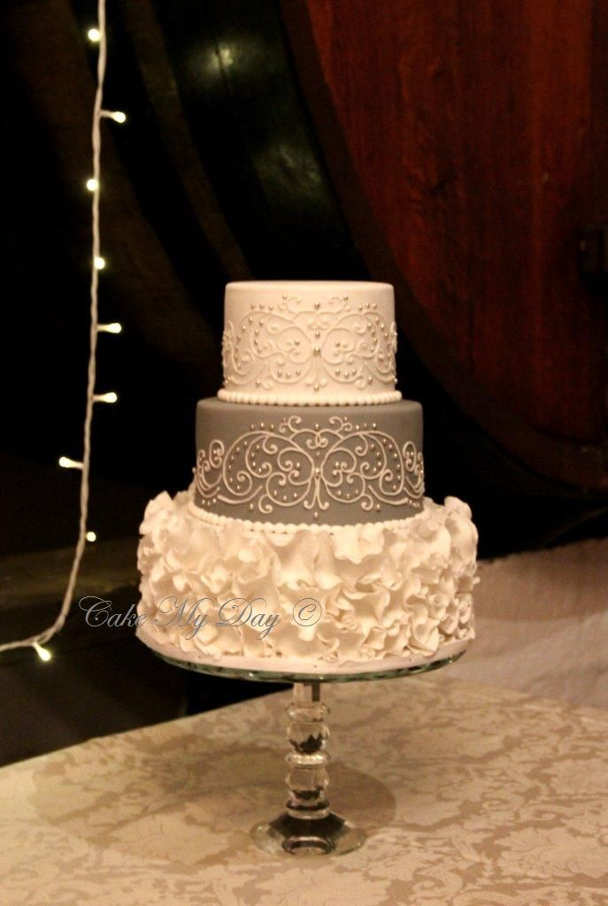 Ruffles elegance in white and gray. Our signature cake design by ...
