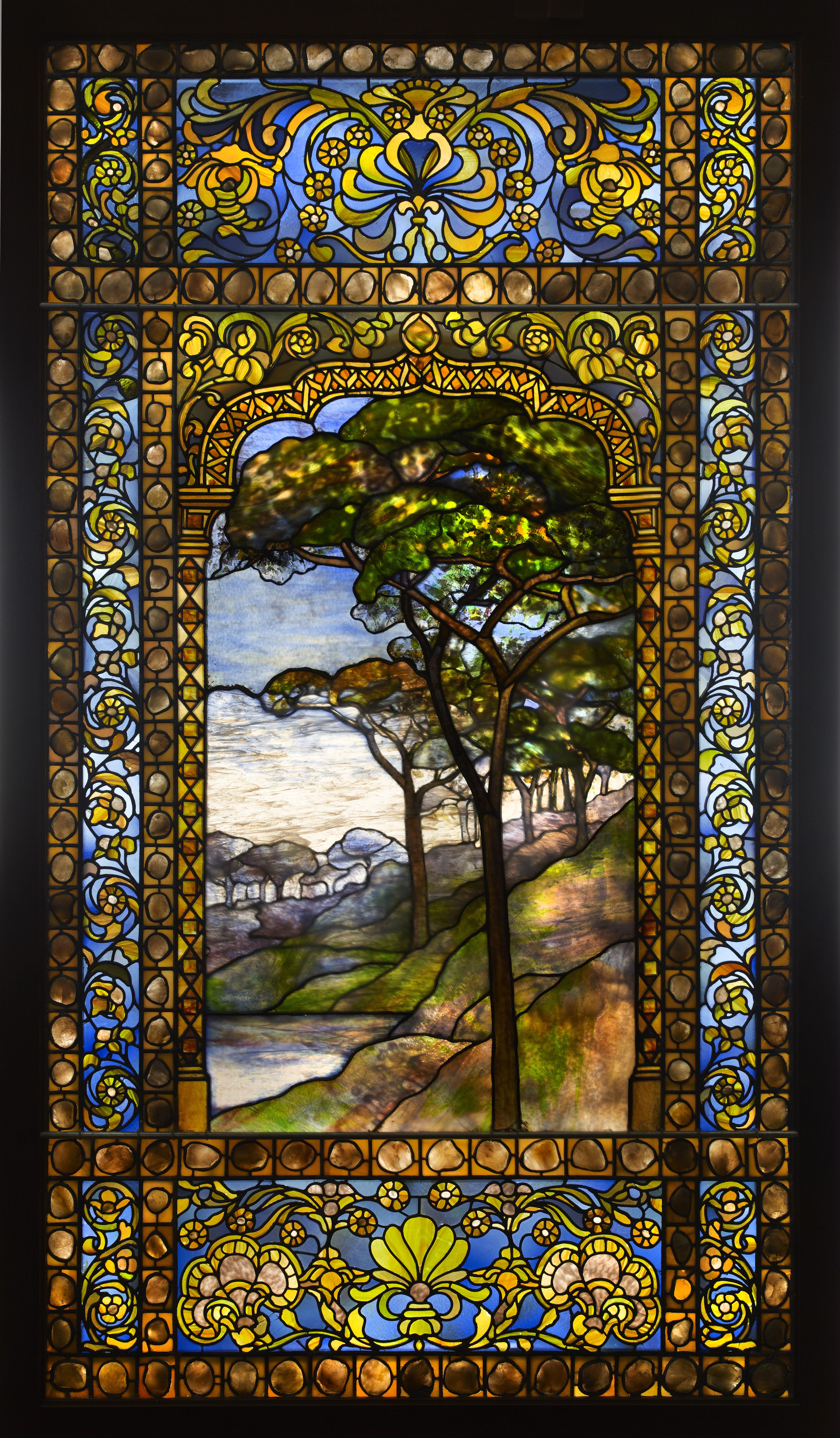 Louis comfort tiffany landscape window 1893 1920 for Art glass windows