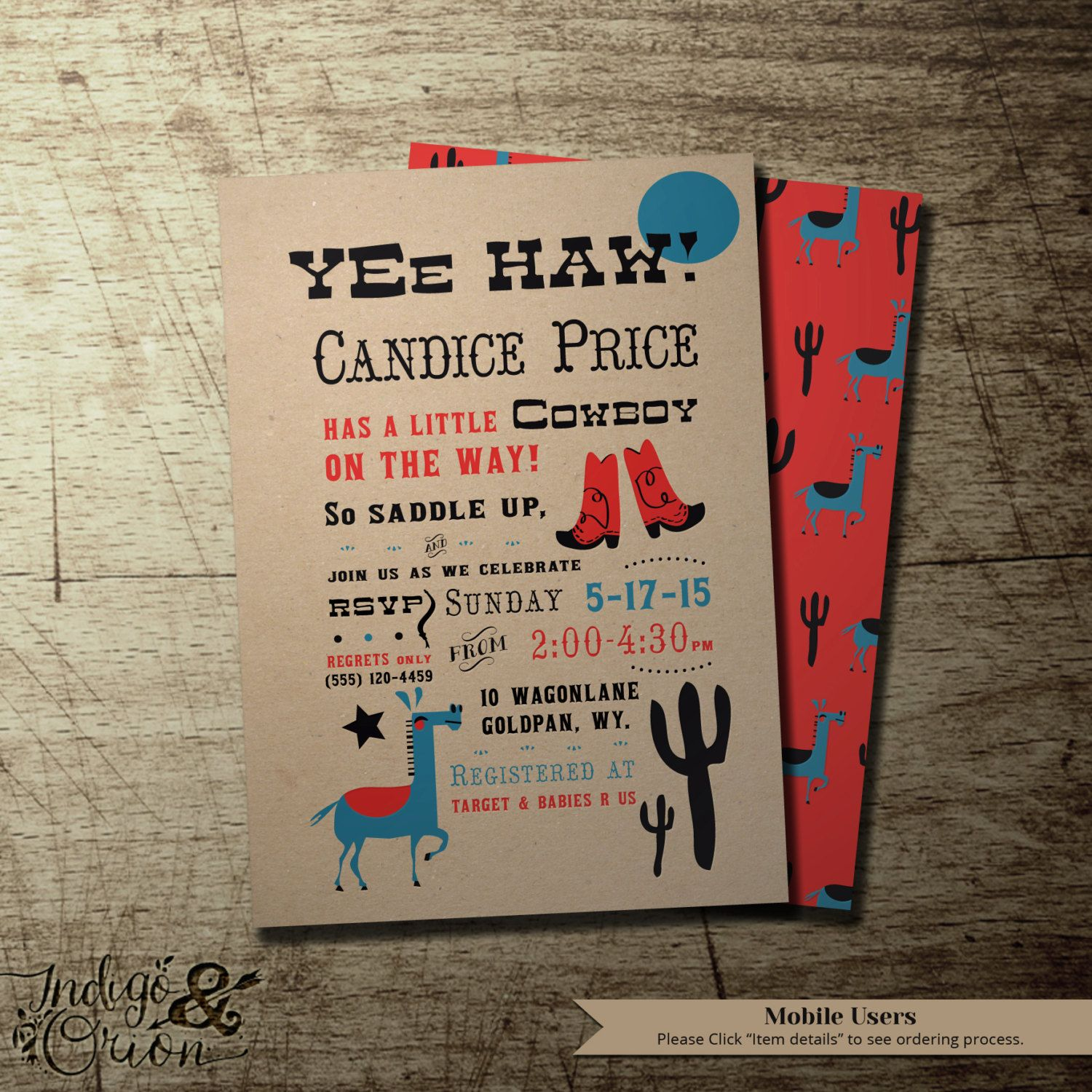 Cowboy baby shower invitation Western. Kraft. red and blue party ...