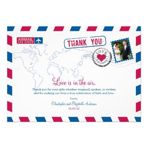 Chicago Airmail Wedding Thank You