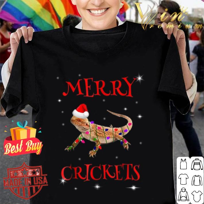 Bearded Dragon Merry Crickets Christmas Shirt image